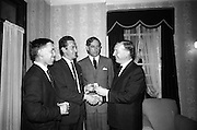 21/08/1966<br /> 08/21/1966<br /> 21 August 1966<br /> Awards presentation for European Sea Angling Championship at Howth, Dublin. Picture shows Mr. Charles Haughey (right), Minister for Agriculture and Fisheries, presenting the 1st Prize of a gold meld to Mr. John Flood, Ballyfermot, Dublin (second from left) of the Volkswagen Sea Angling Club at the reception in the Lawrence hotel after the competition. Also in the picture are Mr. F.J. O'Reilly (third from left), Chairman, Player and Wills (Ireland) Ltd. and Mr. Frank Dalton, (left) Sandymount, Dublin of the Volkswagen Sea Angling Club who won second prize.