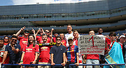 Fans with banners during the Manchester United and Liverpool International Champions Cup match at the Michigan Stadium, Ann Arbor, United States on 28 July 2018.