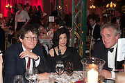 ALAN RUSBRIDGER; BIANCA JAGGER; HENRY PORTER, Evgeny Lebedev and Graydon Carter hosted the Raisa Gorbachev charity Foundation Gala, Stud House, Hampton Court, London. 22 September 2011. <br /> <br />  , -DO NOT ARCHIVE-© Copyright Photograph by Dafydd Jones. 248 Clapham Rd. London SW9 0PZ. Tel 0207 820 0771. www.dafjones.com.