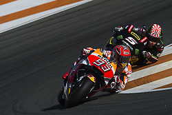 November 12, 2017 - Valencia, Valencia, Spain - 5 Johann Zarco (French) Monster Yamaha Tech 3 Yamaha, #93 Marc Marquez (Spanish) Repsol Honda Team Honda during the race day of the Gran Premio Motul de la Comunitat Valenciana, Circuit of Ricardo Tormo,Valencia, Spain. Sunday 12th of november 2017. (Credit Image: © Jose Breton/NurPhoto via ZUMA Press)