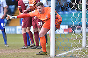 Bradford City Goalkeeper, Ben Williams  during the Sky Bet League 1 match between Bury and Bradford City at the JD Stadium, Bury, England on 5 March 2016. Photo by Mark Pollitt.