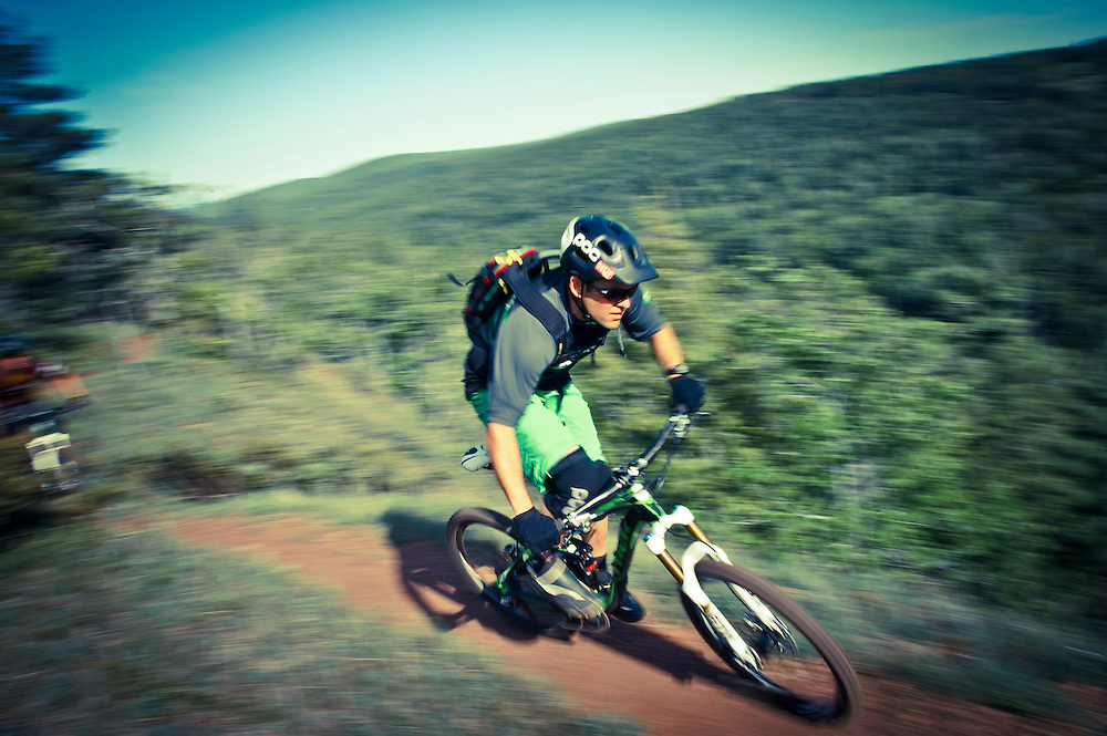 Professional mountain biker Andrew Shandro rides the On the Edge trail in Copper Harbor Michigan.