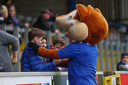 Carlisle United Mascot Olga the Fox with young fans during the Sky Bet League 2 match between Carlisle United and Stevenage at Brunton Park, Carlisle, England on 20 February 2016. Photo by Craig McAllister.