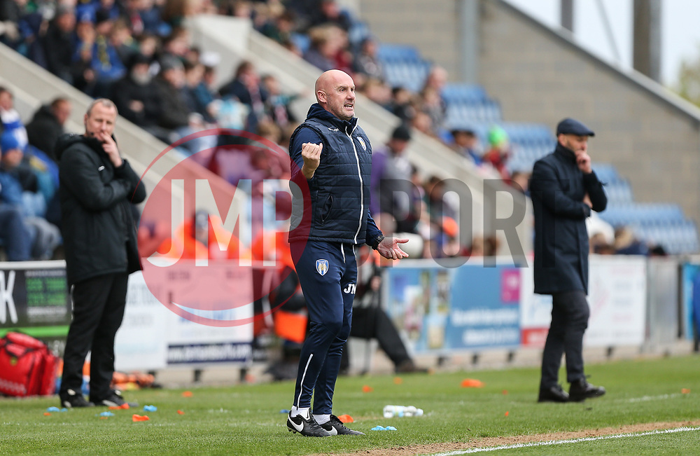 Colchester United manager John McGreal directs his players - Mandatory by-line: Arron Gent/JMP - 27/04/2019 - FOOTBALL - JobServe Community Stadium - Colchester, England - Colchester United v Milton Keynes Dons - Sky Bet League Two