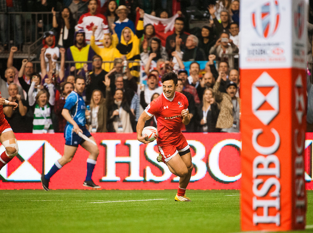 Nathan Hirayama of Canada scores a try in the bowl final during the knockout stages of the 2016 Canada Sevens leg of the HSBC Sevens World Series Series at BC Place in  Vancouver, British Columbia. Sunday March 13, 2016.<br /> <br /> Jack Megaw<br /> <br /> www.jackmegaw.com<br /> <br /> 610.764.3094<br /> jack@jackmegaw.com
