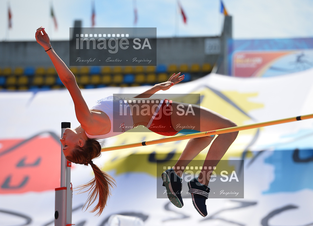 BYDGOSZCZ, POLAND - JULY 21: Weronika Grzelak of Poland in the high jump of the women's heptathlon during day 3 of the IAAF World Junior Championships at Zawisza Stadium on July 21, 2016 in Bydgoszcz, Poland. (Photo by Roger Sedres/Gallo Images)