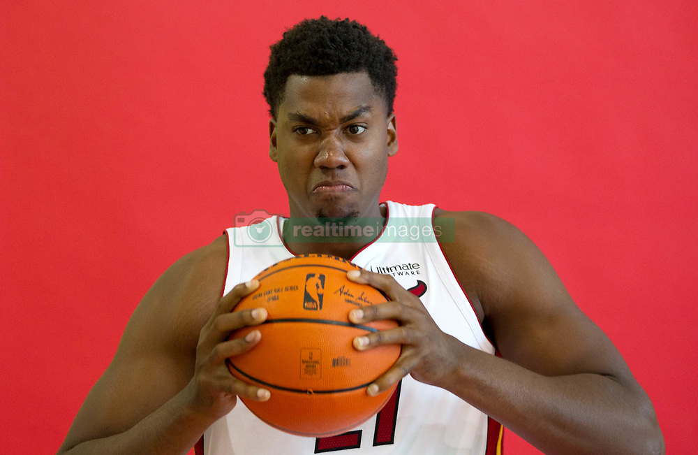September 25, 2017 - Miami, Florida, U.S. - Miami Heat center Hassan Whiteside (21) at Media Day at AmericanAirlines Arena in Miami, Florida on September 25, 2017. (Credit Image: © Allen Eyestone/The Palm Beach Post via ZUMA Wire)