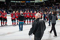 KELOWNA, CANADA - MARCH 16:  Fans walk to claim their jersey off the back of the Kelowna Rockets on March 16, 2019 at Prospera Place in Kelowna, British Columbia, Canada.  (Photo by Marissa Baecker/Shoot the Breeze)