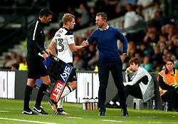 Matej Vydra of Derby County shakes hands with Derby County manager Gary Rowett after scoring the winning goal against Preston North End - Mandatory by-line: Robbie Stephenson/JMP - 15/08/2017 - FOOTBALL - Pride Park Stadium - Derby, England - Derby County v Preston North End - Sky Bet Championship