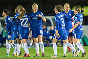 Chelsea Ladies celebrate Fran Kirby (14) penalty during the UEFA Women's Champions League quarter final second leg match between Chelsea Ladies and Montpellier Feminines at the Kings Sports Ground, New Malden, United Kingdom on 28 March 2018. Picture by Robin Pope.
