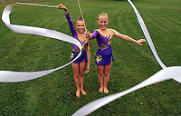 Gloucester: .Katerina Eichenberger and Brook Fougere have been doing rhythmic gymnastics for a little over a year and recently competed in a national competition in Lowell..Photo by Mike Dean/Gloucester Daily Times. Wednesday, August 11, 2004