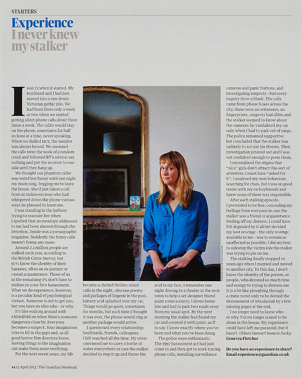 Genevra Fletcher.<br /> <br /> Commissioned by the GUARDIAN WEEKEND MAGAZINE.