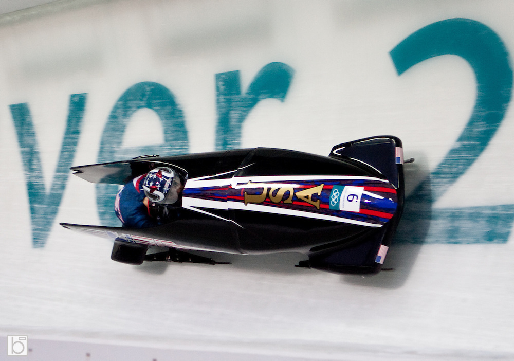 Tuesday, Feb 23, 2010; The USA3 Woman's Bobsled with Bree Schaaf driving and Emily Azevado on the brakes competes in the first heat of the 2010 Winter Olympics Woman Bobsled competition at the Whistler Sliding Center in Whistler, BC, Canada. (Photo/Todd Bissonette - www.usabobsledphotos.com)