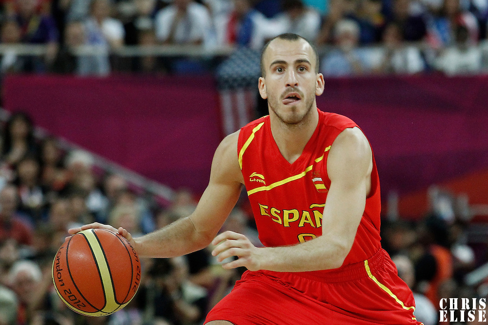 12 August 2012: Spain Sergio Rodriguez looks to pass the ball during 107-100 Team USA victory over Team Spain, during the men's Gold Medal Game, at the North Greenwich Arena, in London, Great Britain.