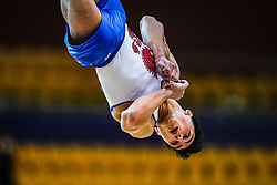 October 29, 2018 - Doha, Qatar - Artur Dalaloyan of  Russia   during  Floor, Team final for Men at the Aspire Dome in Doha, Qatar, Artistic FIG Gymnastics World Championships on October 29, 2018. (Credit Image: © Ulrik Pedersen/NurPhoto via ZUMA Press)
