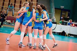 Players of Team Slovenia during volleyball match between National Teams of Slovenia and Azerbaijan of 2014 CEV Volleyball European League Women - Pool A, on July 5, 2014, in Arena Ljudski vrt Lukna, Maribor, Slovenia, Slovenia. Photo by Urban Urbanc / Sportida