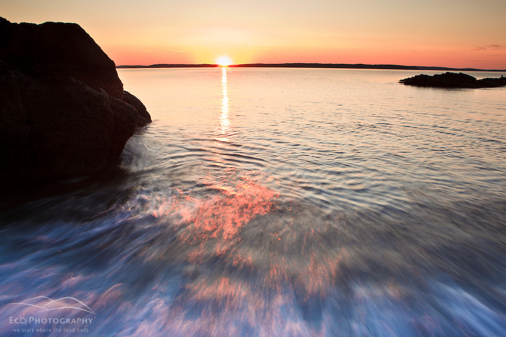 Sunrise over Frenchman Bay in Maine's Acadia National Park. Dorr Point.