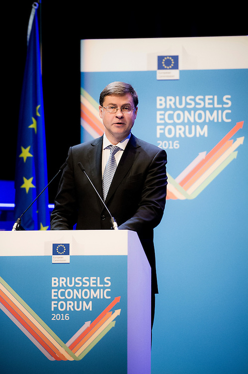 Brussels, Belgium, 9 June 2016<br /> Brussels Economic Forum 2016.<br /> Valdis Dombrovskis, European Commissioner for the Euro and Social Dialogue.<br /> The Brussels Economic Forum (BEF) is the flagship annual economic event of the European Commission.<br /> The BEF brings together top European and international policymakers and opinion leaders as well as civil society and business leaders. It is the place to take stock of economic developments, identify key challenges and debate policy priorities.<br /> Photo: European Commission / Ezequiel Scagnetti