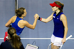 November 13, 2016 - Strasbourg, France - Czech Republic's Barbara Strycova (L) and France's Alize Cornet (R), on November 13, 2016 in Strasbourg, eastern France, during their Fed Cup final tennis match between France and Czech Republic. (Credit Image: © Elyxandro Cegarra/NurPhoto via ZUMA Press)