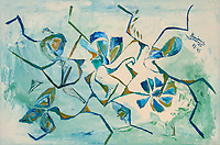 Blue, green, light blue and light green, brownish flower and leaf like shapes and lines on light blue, white, light green, creamy white enamel background.