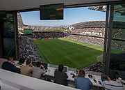 A view from the LAFC press box of the at the Banc of California Stadium during an MLS soccer match against the Seattle Sounders in Los Angeles, Sunday, April 21, 2019. LAFC defeated the Sounders 4-1. (Ed Ruvalcaba/Image of Sport)