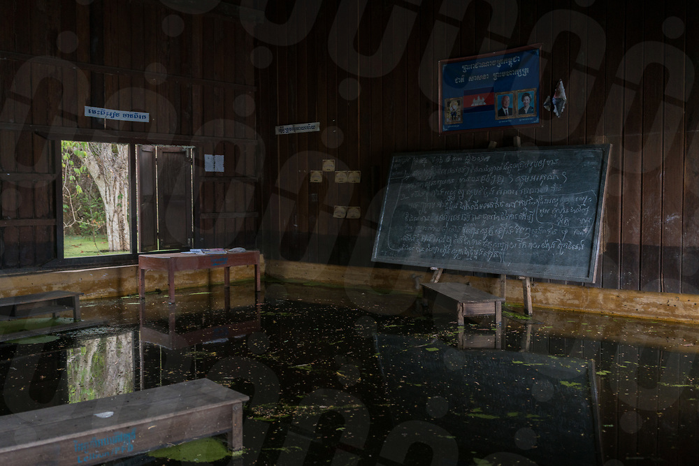 April 25, 2018 - Stung Treng (Cambodia). View of one of the classroom of the Kbal Romeas school now flooded due the rise of the Sesan river's water after the gates of the Lower Sesan 2 dam were finally closed in October 2017. © Thomas Cristofoletti / Ruom