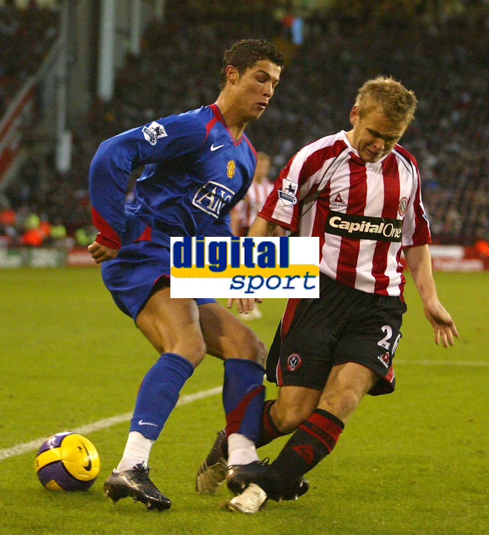 Photo: Aidan Ellis.<br /> Sheffield United v Manchester United. The Barclays Premiership. 18/11/2006.<br /> Manchester's Cristiano Ronaldo send Sheffield's Derek Geary the wrong way
