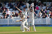 Wicket - Craig Overton of Somerset is trapped LBW by Keshav Maharaj of Lancashire during the Specsavers County Champ Div 1 match between Somerset County Cricket Club and Lancashire County Cricket Club at the Cooper Associates County Ground, Taunton, United Kingdom on 5 September 2018.