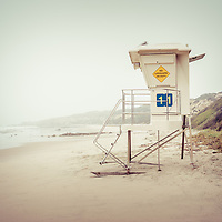 Crystal Cove Lifeguard Tower 11 Vintage Picture. Crystal Cove State Park is along the Pacific Ocean in Laguna Beach, Orange County, California.