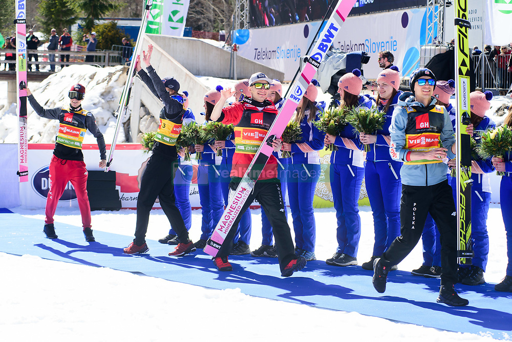 March 23, 2019 - Planica, Slovenia - Team Poland celebrating their victory at the Planica FIS Ski Jumping World Cup finals  on March 23, 2019 in Planica, Slovenia. From left: Team Germany, Team Poland and Team Slovenia. (Credit Image: © Rok Rakun/Pacific Press via ZUMA Wire)