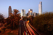 Israel, Tel Aviv, Long exposure Night shot of Ayalon highway