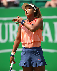 Japan's Naomi Osaka reacts during day one of the Nature Valley Open at Nottingham Tennis Centre.