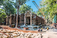 Angkor, Cambodia - January 1, 2014: restoration works at Ta Prohm Angkor Wat tamble, Cambodia on january 1st, 2014