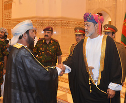 HandOut photo - New sworn-in Sultan Haitham Bin Tariq Bin Taimour of Oman (right) receives the congratulations of members of the Royal Family and other officials during a ceremony held in Muscat, Oman, on January 11, 2020, few hours after Sultan Qaboos Bin Said passed away. Photo by Balkis Press/ABACAPRESS.COM