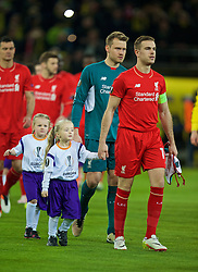 DORTMUND, GERMANY - Thursday, April 7, 2016: Liverpool's captain Jordan Henderson walks out to face Borussia Dortmund during the UEFA Europa League Quarter-Final 1st Leg match at Westfalenstadion. (Pic by David Rawcliffe/Propaganda)