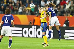 13.07.2011, Commerzbank Arena, Frankfurt, GER, FIFA Women Worldcup 2011, Halbfinale,  Japan (JPN) vs. Schweden (SWE), im Bild.Kopfball / Kopfballduell zwischen Marie Hammarstrom (Schweden) und Homare Sawa (Japan).. // during the FIFA Women´s Worldcup 2011, Semifinal, Japan vs Sweden on 2011/07/13, Commerzbank Arena, Frankfurt, Germany.   EXPA Pictures © 2011, PhotoCredit: EXPA/ nph/  Mueller       ****** out of GER / CRO  / BEL ******