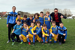 07 April 2018. Blaringhem, Pas de Calais, France.<br /> Phase District Festival U13 Pitch - Festival Foot U13. A tournament of 8 teams.<br /> US Montreuil Sur Mer U13a team with coaches and parents.<br /> Photo©; Charlie Varley/varleypix.com