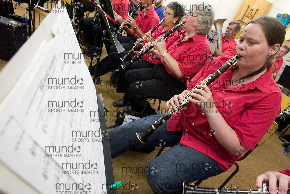 Wallaceburg, Ontario ---06/7/26---  Jennifer Green, a first clarinetist with the Chatham Concert Band plays a big band number during a practice at 7:22pm. The band held a practice in place of a scheduled concert which was rained out..GEOFF ROBINS/ Chatham Daily News<br />