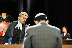 "© Licensed to London News Pictures. 20/10/2017. London, UK. David Yelland as Sir Wilfrid Robarts points at Jack McMullen as Leonard Vole, the accused. Photocall for ""Witness for the Prosecution"", by Agatha Christie, directed by Lucy Bailey, at London County Hall.  The play opens 23 October. Photo credit : Stephen Chung/LNP"