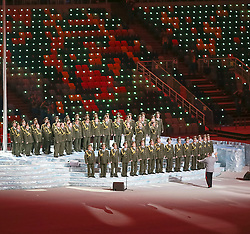 07.02.2014, Olympiastadion Fischt, Adler, RUS, Sochi 2014, Eröffnungsfeier der XXII. Olympischen Winterspiele, im Bild Militärchor // Military Choir during the Opening Ceremony of the Olympic Winter Games Sochi 2014 at the Fisht Olympic Stadium in Adler, Russia on 2014/02/07. EXPA Pictures © 2014, PhotoCredit: EXPA/ Johann Groder