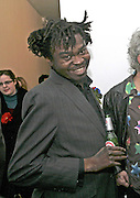 Yinka Shonibare, Yinka Shonibare MBE, Flower Time. Private view at the Stephen Friedman Gallery.  Old Burlington St.  London 30 November 2006.   ONE TIME USE ONLY - DO NOT ARCHIVE  © Copyright Photograph by Dafydd Jones 248 CLAPHAM PARK RD. LONDON SW90PZ.  Tel 020 7733 0108 www.dafjones.com
