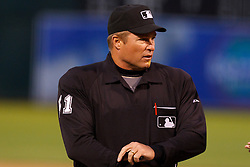 May 17, 2011; Oakland, CA, USA; MLB umpire Marvin Hudson (51) stands behind home plate during the first inning between the Oakland Athletics and the Los Angeles Angels at Oakland-Alameda County Coliseum. Oakland defeated Los Angeles 14-0.