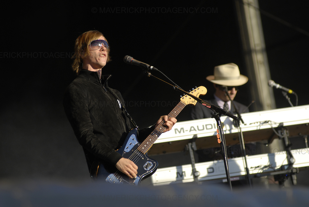 BALADO, KINROSS, SCOTLAND - JULY 8th 2007: Interpol perform live at T in the Park 2007.  Pictured singer Paul Banks.
