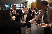 CUNY Graduate School of Journalism's Dean Sarah Bartlett greets attendees during the opening reception. Members of community and ethnic media publications and associations from around the New York area gather for the 14th annual Ippies Awards hosted by the Center for Community and Ethnic Media at the CUNY Graduate School of Journalism in New York City, NY, on June 2,2016. Photo by Skyler Reid