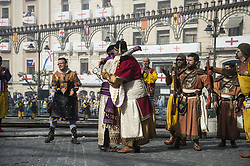 April 24, 2017 - Alcoi - On Monday, April 24, the day of the battle between Moors and Christians was celebrated in the town of Alcoi, Alicante. This celebration has a theatrical interpretation of the military confrontation between Christian Visigoths and Muslim Moors. The origin of this party is of 1741. This day the streets cross the brotherhoods firing their ''alcabuces' (Credit Image: ©  via ZUMA Wire)