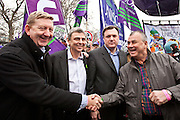 Len McCluskey, of Unite, Dave Prentis of UNISON, Ed Balls MP and Brendan Barber of the TUC. Pose for pictures at the TUC March for the Alternative 26 March 2011