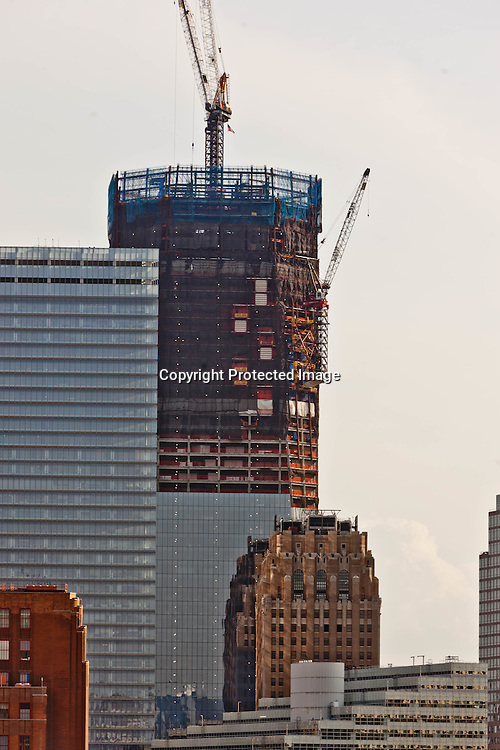 New York, Elevated view of Tribeca, and the new freedom tower in World trade center district