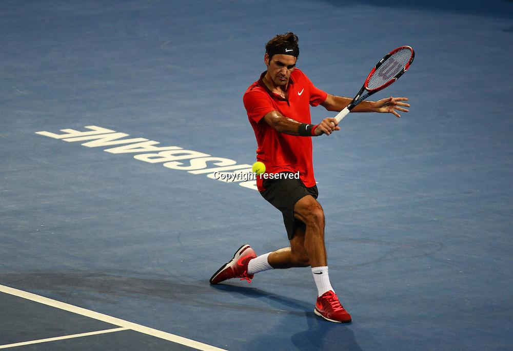 08.01.2014. Brisbane, Queensland, Australia.  Roger Federer (SUI) in Action against John Millman (Aus). Brisbane International 2015