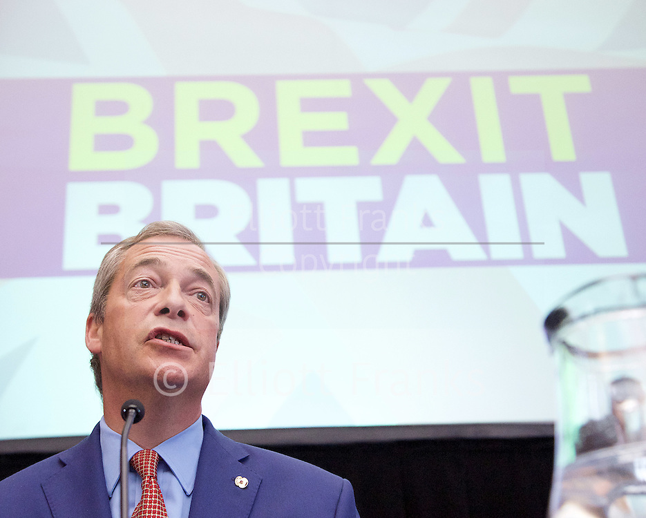 Nigel Farage <br /> UKIP Leader <br /> Resignation speech <br /> at Emmanuel Centre, Westminster, London, Great Britain <br /> 4th July 2016 <br /> <br /> <br /> Nigel Farage <br /> <br /> <br /> Photograph by Elliott Franks <br /> Image licensed to Elliott Franks Photography Services