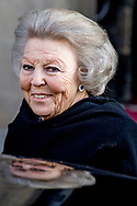 4-2-2018 AMSTERDAM - Departure of  Princess beatrix  at the Royal Palace on Dam Square for the birthday reception of Princess Beatrix. The princess celebrates her 80th birthday in private. ROBIN UTRECHT